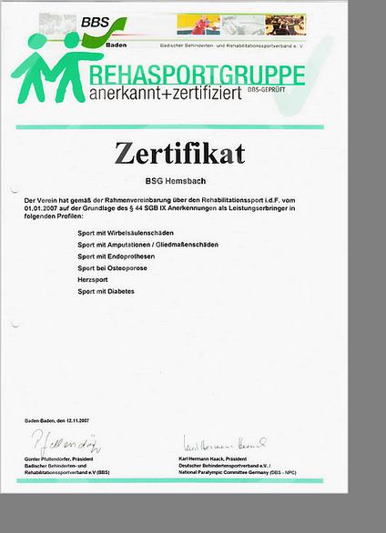 Zertifikat REHA - BSG Hemsbach